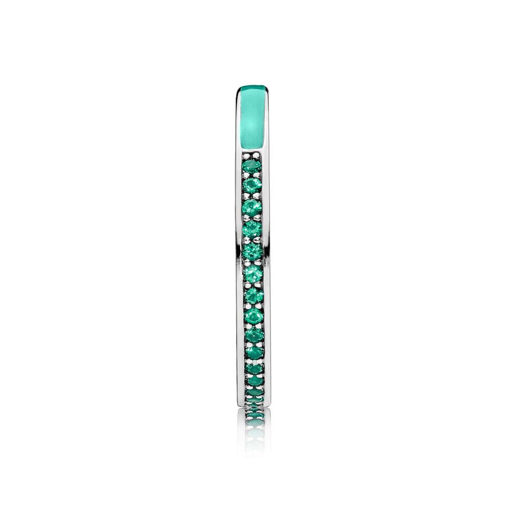 687adc0d3 Radiant Hearts of PANDORA Ring, Bright Mint Enamel & Royal Green Crystals