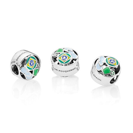 Brazil Forever Charm, Green, Blue & Yellow Enamel