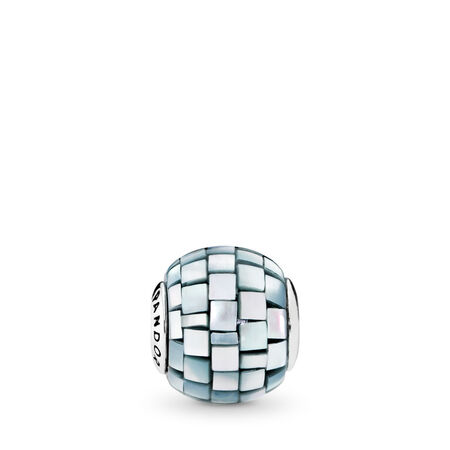 BALANCE Charm, Blue-Grey Mother-of-Pearl Mosaic