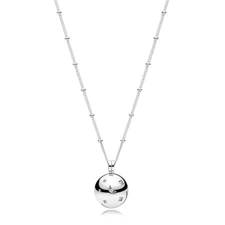 Moon and Stars Necklace, Clear CZ