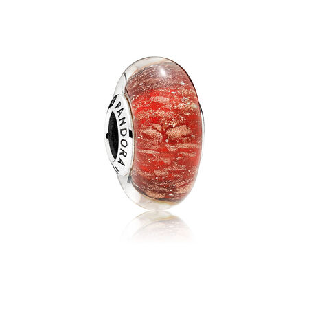 Red Twinkle Murano Glass Charm