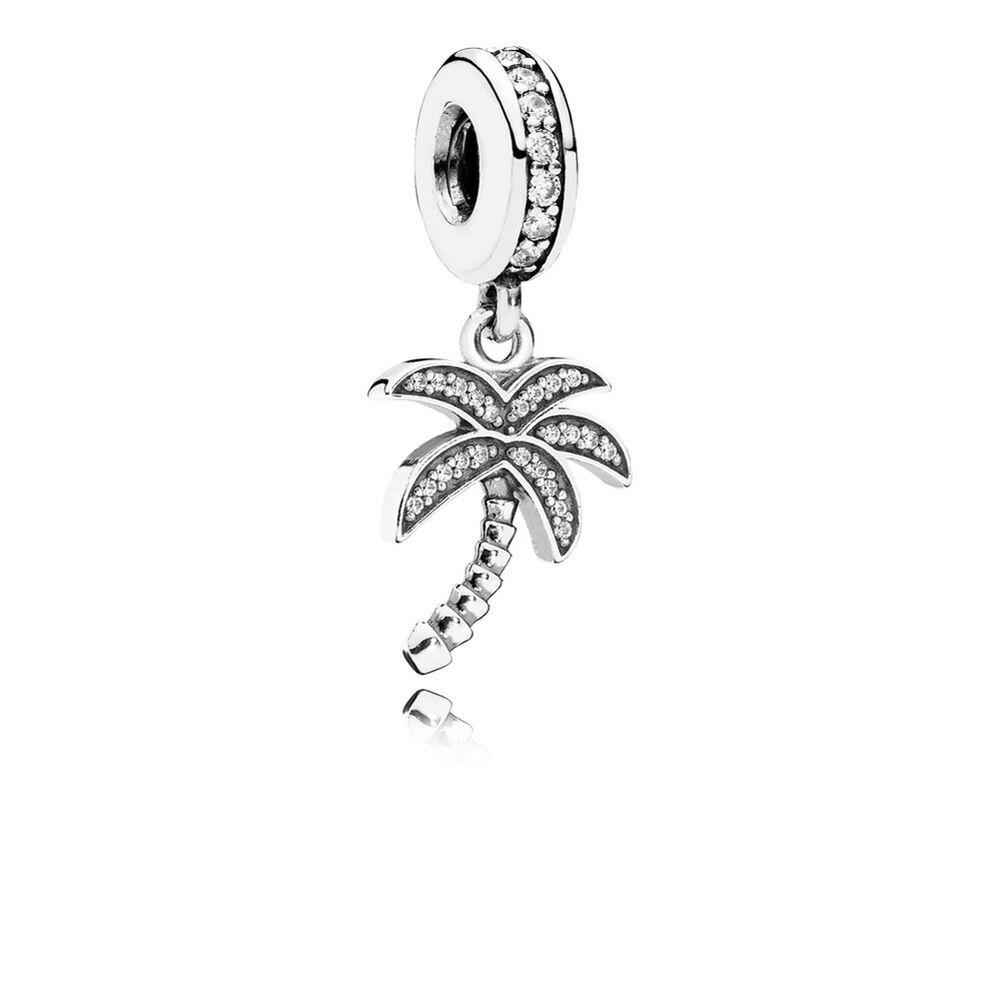 sparkling palm tree dangle charm  clear cz