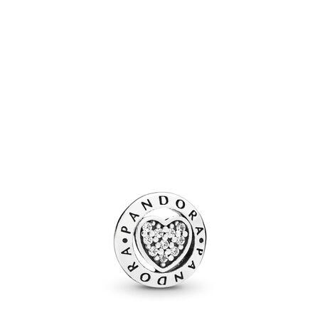 PANDORA Signature Heart Petite Locket Charm, Sterling silver, Cubic Zirconia - PANDORA - #797048CZ