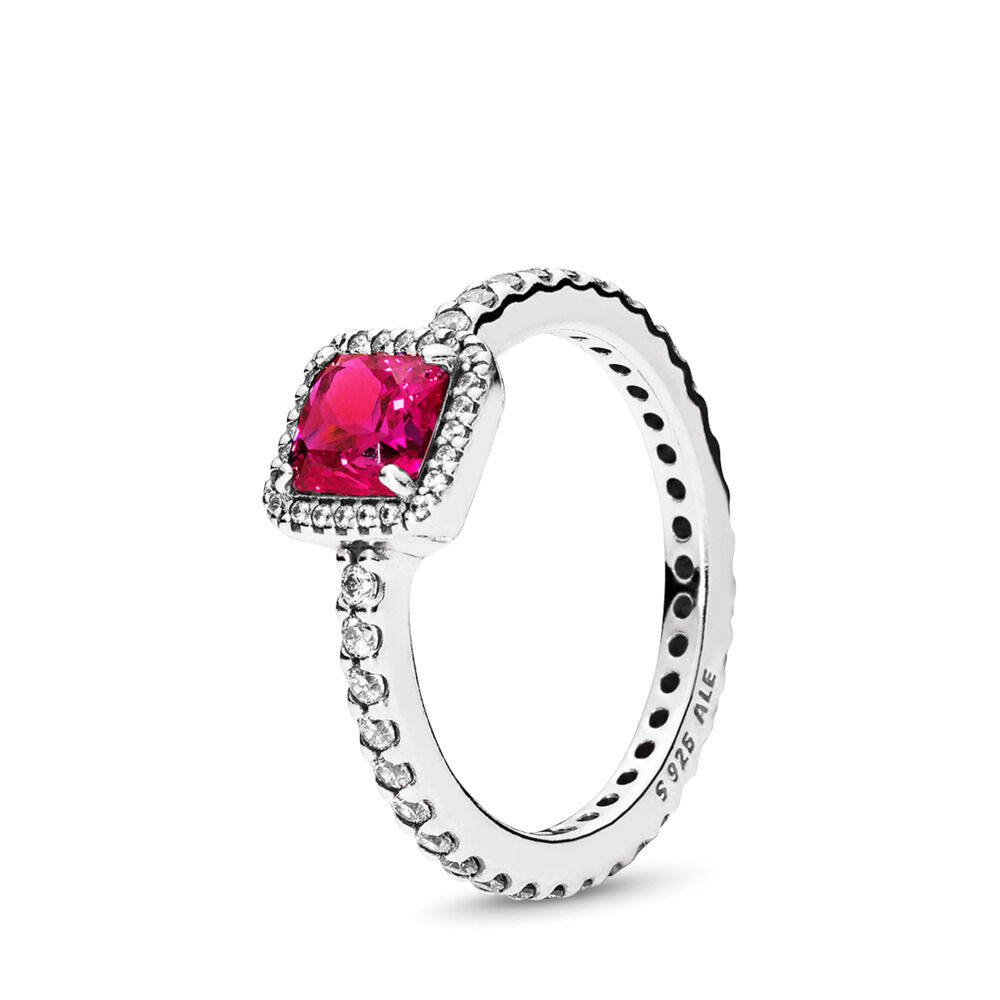 5a5315401 Timeless Elegance, Synthetic Ruby & Clear CZ, Sterling silver, Red, Mixed  stones