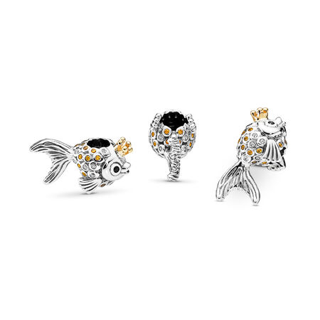 Fairytale Fish Charm, Orange & Gold CZ & Black Crystals, Two Tone, Black, Mixed stones - PANDORA - #792014CCZ