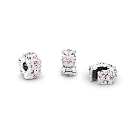 Pink Primrose Clip, Light Pink Enamel & Clear CZ, Sterling silver, Mixed Material, Pink, Cubic Zirconia - PANDORA - #791823EN68