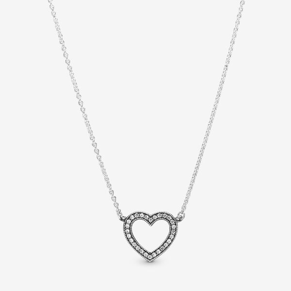 Loving Hearts Of Pandora Necklace With Clear Cz Silver Pandora Us