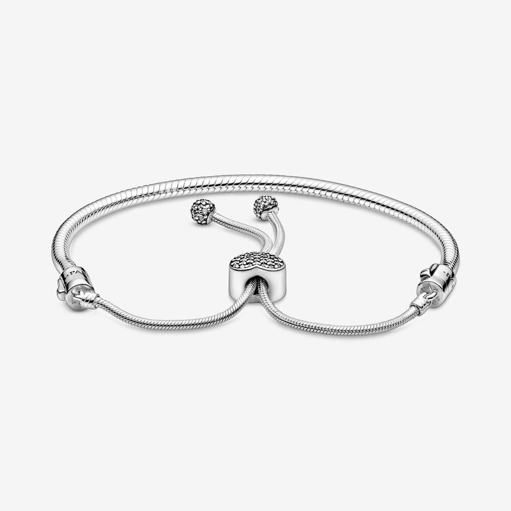 Pandora Moments Pavé Heart Clasp Snake Chain Slider Bracelet ...