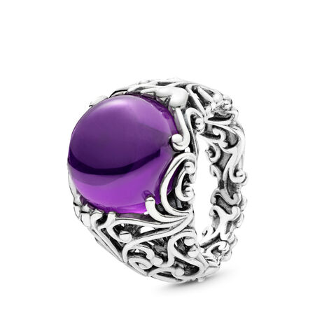 Regal Dazzling Beauty Ring, Purple CZ, Sterling silver, Purple, Cubic Zirconia - PANDORA - #197678ACZ