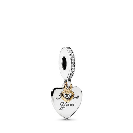 Love You Forever Dangle Charm, Clear CZ, Two Tone, Cubic Zirconia - PANDORA - #792042CZ