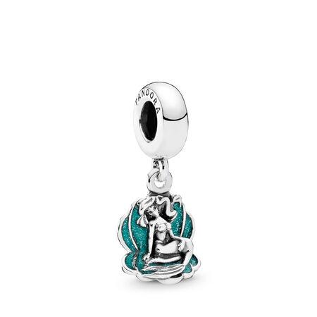 Disney, Ariel & Sea Shell Dangle Charm, Glittery Seafoam Green Enamel