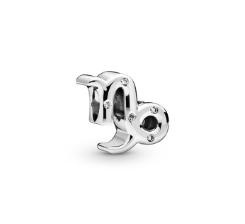 Capricorn sterling silver charm with clear cubic zirconia