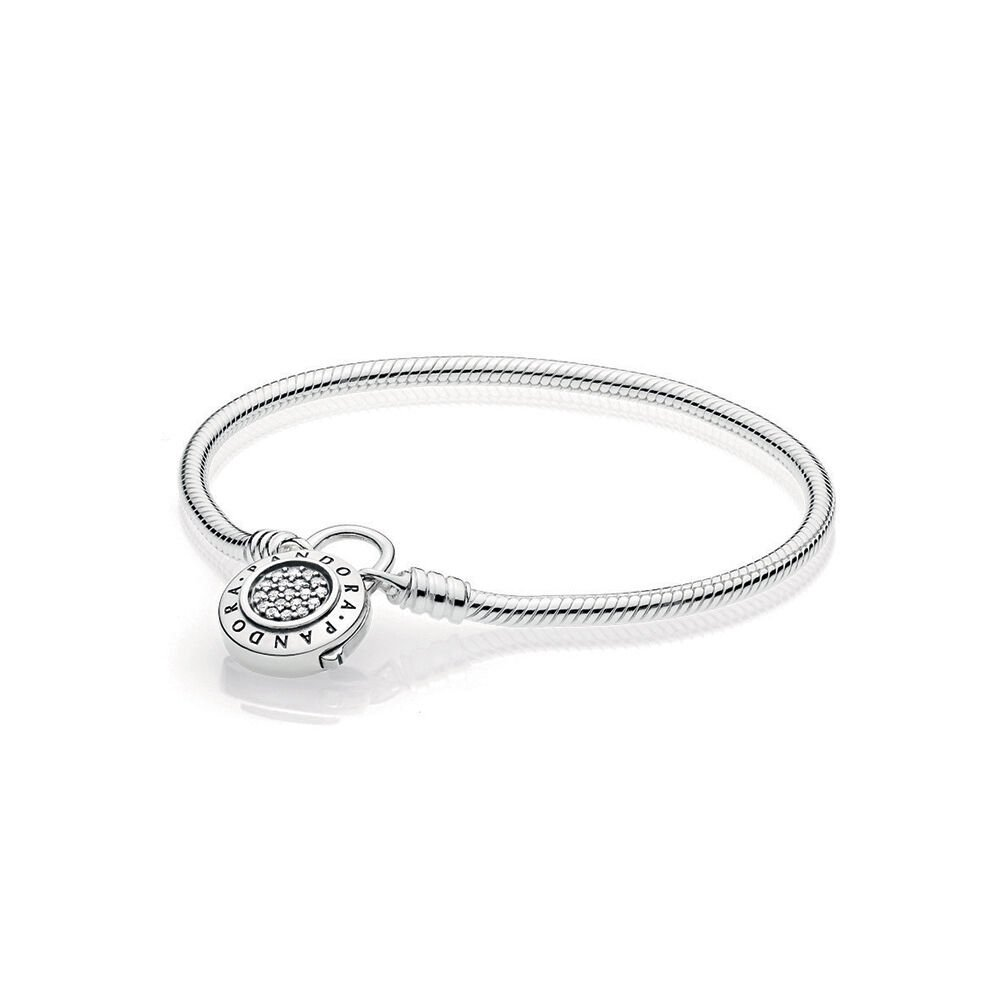 Sterling Silver Smooth Bracelet With Pandora Signature Padlock Clasp Clear Cz