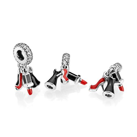 Glamour Trio Dangle Charm, Mixed Enamel & Clear CZ