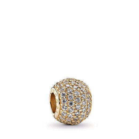 Pavé Lights Charm, Clear CZ & 14K Gold, Yellow Gold 14 k, Cubic Zirconia - PANDORA - #750819CZ