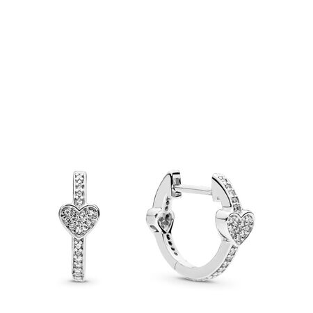 Alluring Hearts Hoop Earrings, Clear CZ, Sterling silver, Cubic Zirconia - PANDORA - #297290CZ
