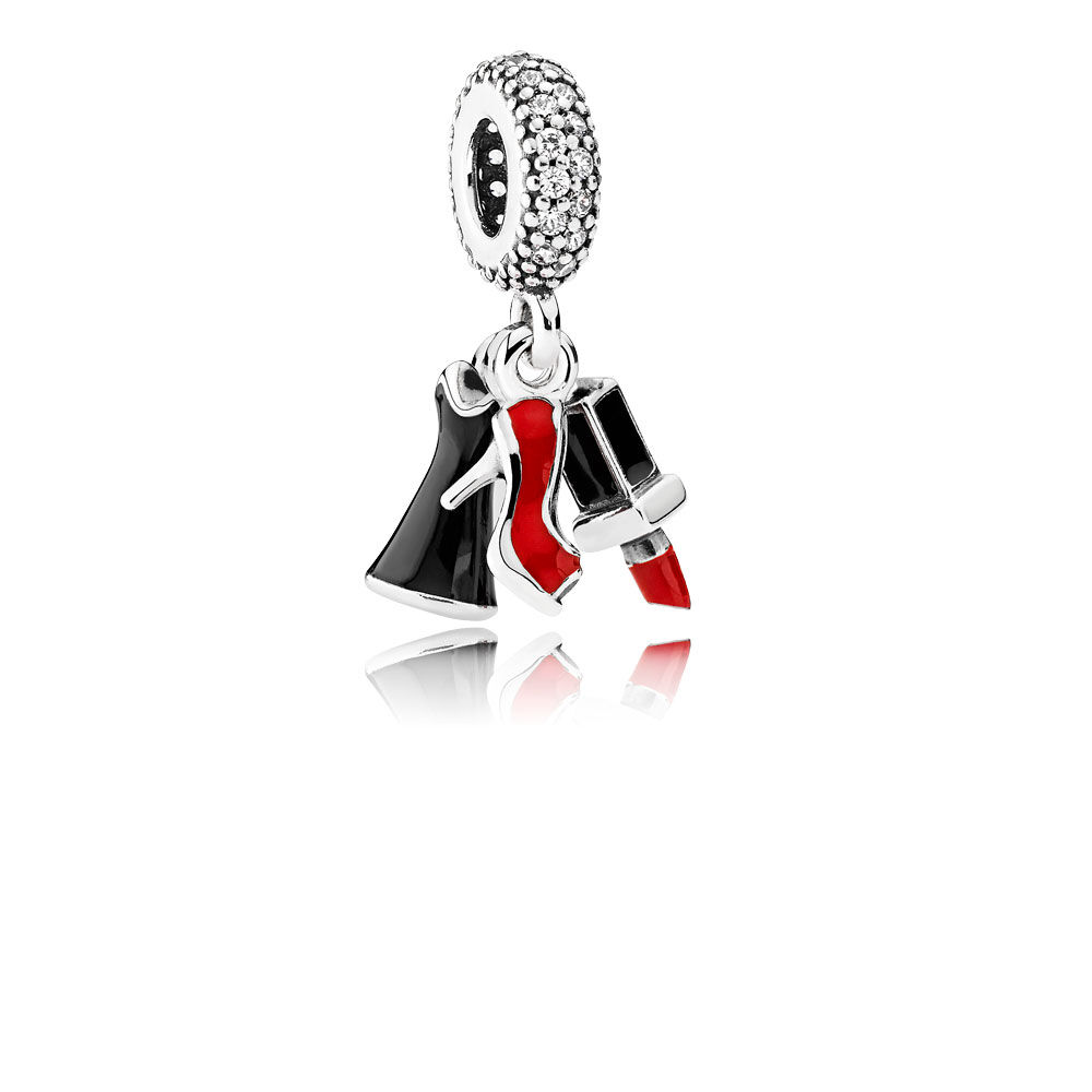 Glamour Trio Dangle Charm Mixed Enamel Amp Clear Cz