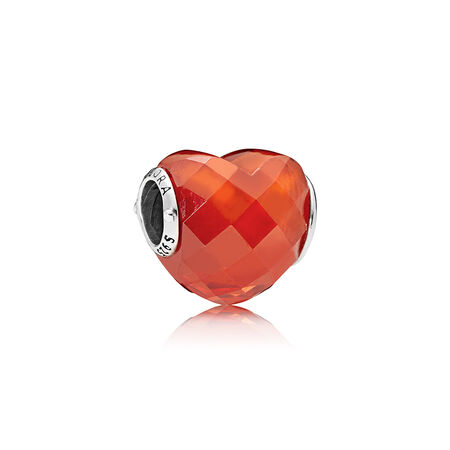 Shape of Love Charm, Orange Cubic Zirconia