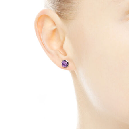 February Droplets Stud Earrings, Synthetic Amethyst