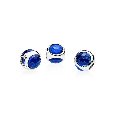 Radiant Droplet Charm, Royal Blue Crystals, Sterling silver, Blue, Crystal - PANDORA - #792095NCB