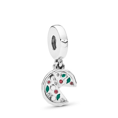 Passion for Pizza Dangle Charm, Green Enamel, Red Crystal & Clear CZ