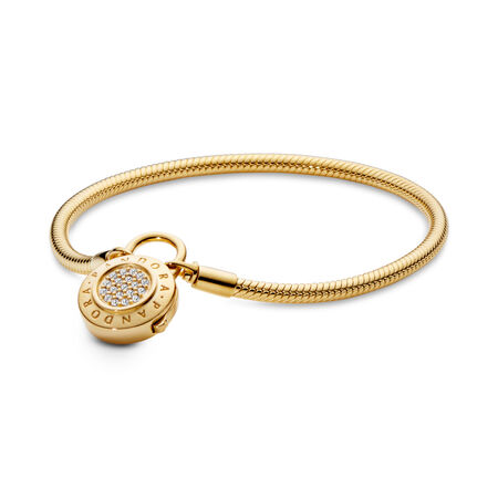 Smooth PANDORA Shine™ Bracelet, Signature Padlock, Clear CZ, 18ct Gold Plated, Cubic Zirconia - PANDORA - #567757CZ-23