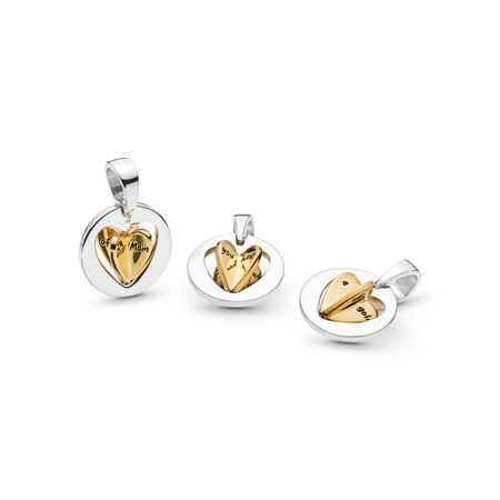 Mom's Golden Heart Dangle Charm, PANDORA Shine and sterling silver - PANDORA - #767774