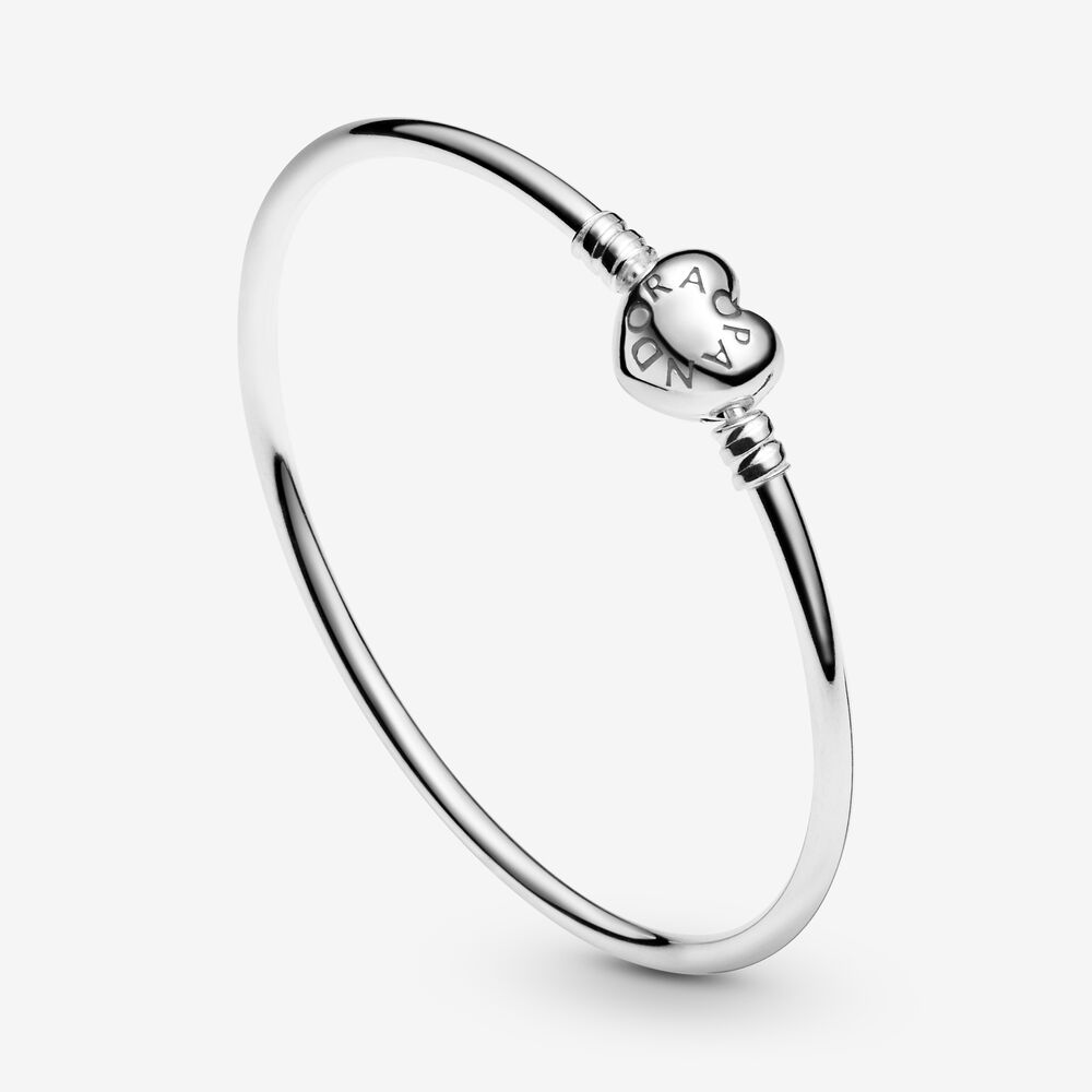 Moments Silver Bangle Bracelet with Logo Heart Clasp | Sterling ...