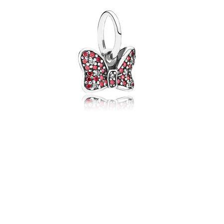 Disney, Minnie's Sparkling Bow Dangle Charm, Red & Clear CZ, Sterling silver, Cubic Zirconia - PANDORA - #791556CZR