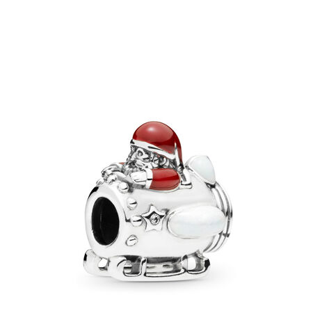 Santa in Space Charm, Clear CZ & Multi-Colored Enamel
