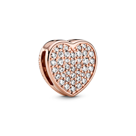 Heart Pandora Rose clip charm with clear cubic zirconia