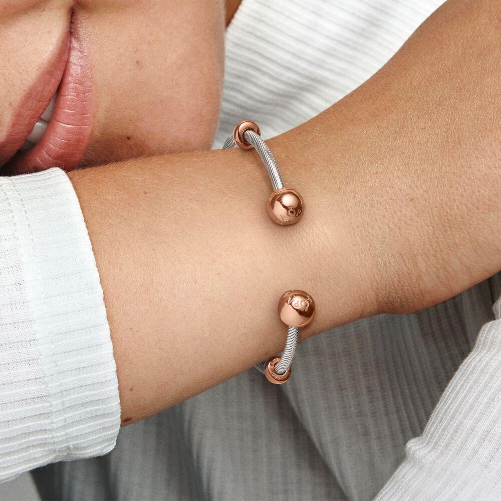 Pandora Moments Snake Chain Style Open Bangle | Two-tone | Pandora US