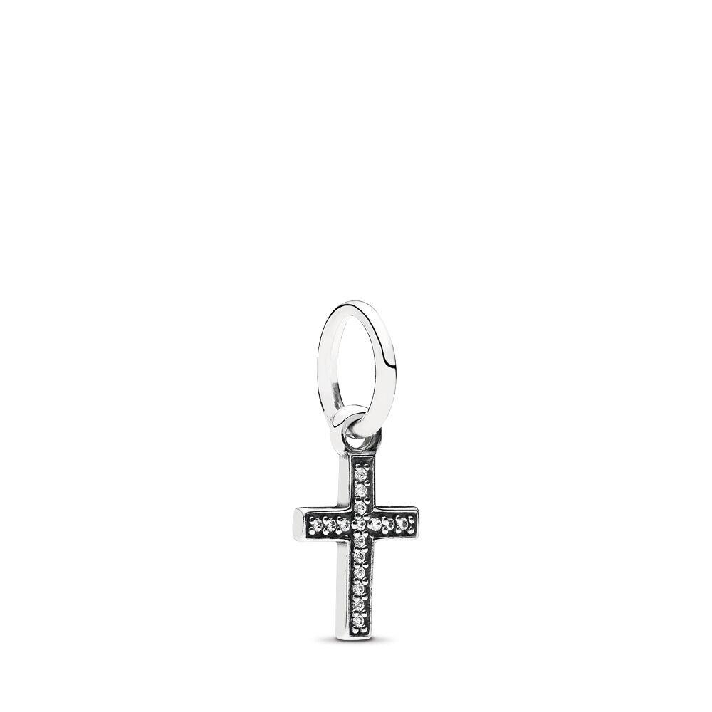 7e7cb8a0a Symbol Of Faith Cross Dangle Charm, Clear CZ, Sterling silver, Cubic  Zirconia -