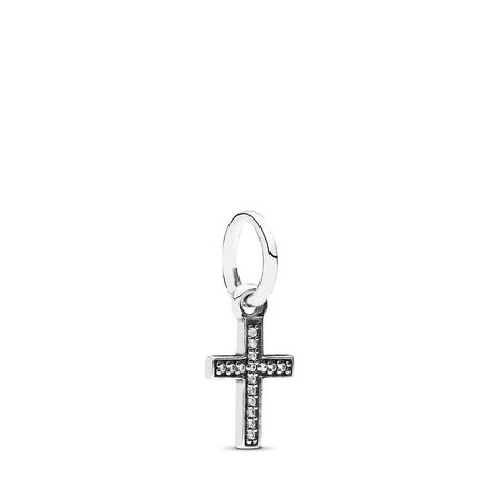 ec8488083 Symbol Of Faith Cross Dangle Charm, Clear CZ Sterling silver, Cubic Zirconia