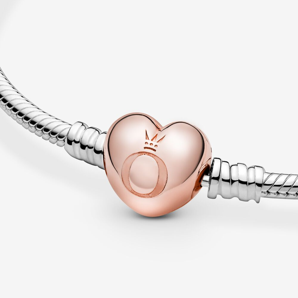 Sterling Silver Bracelet with Pandora Rose™ Heart Clasp | Two-tone ...