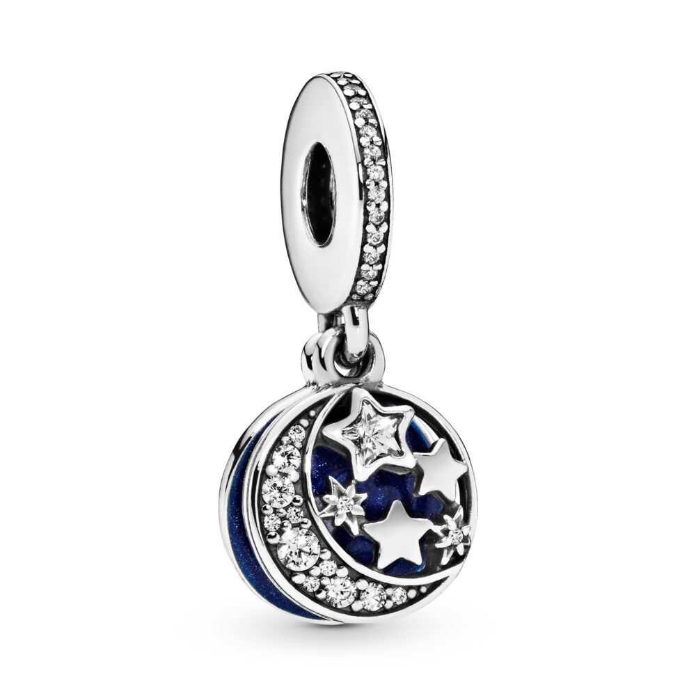 85acb4566 Moon & Blue Sky Dangle Charm, Sterling silver, Enamel, Blue, Cubic Zirconia
