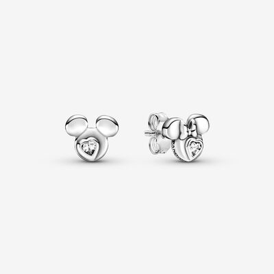 Disney Mickey Mouse & Minnie Mouse Silhouette Stud Earrings , Silver