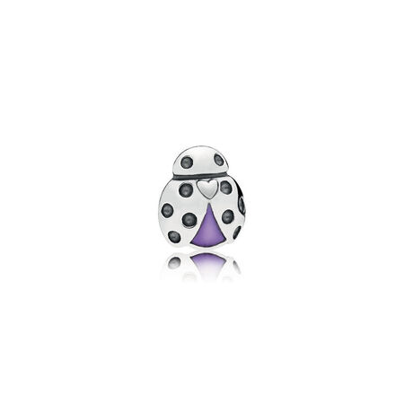 Ladybug Petite Locket Charm, Purple Enamel