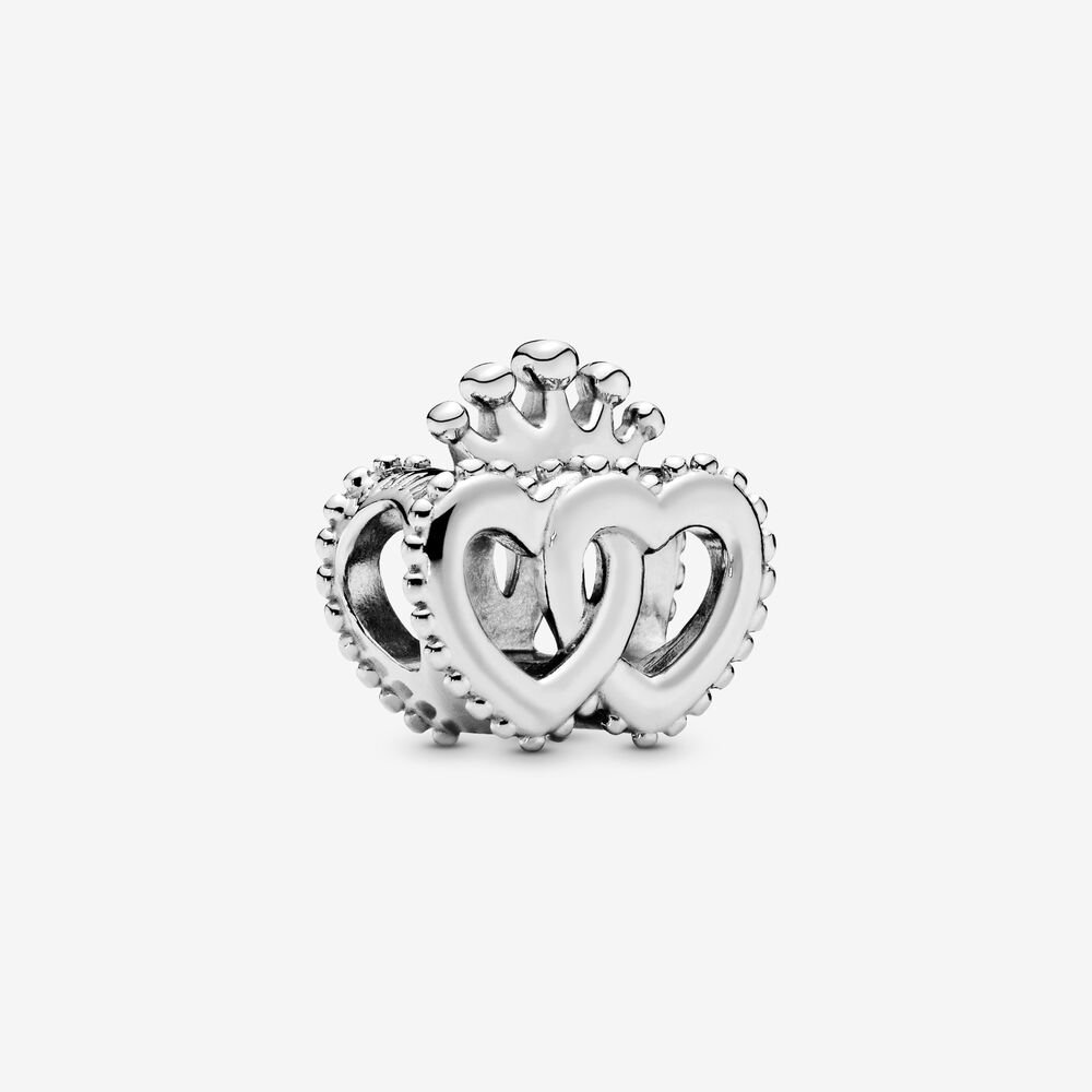 Crown & Interwined Hearts Charm