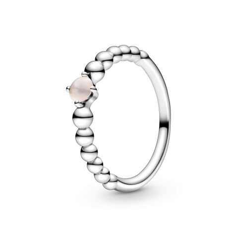 Sterling silver ring with treated misty rose topaz