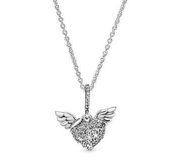 Heart and wings sterling silver pendant with clear cubic zirconia and necklace