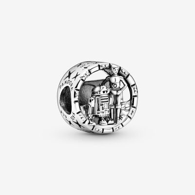 Star Wars C-3PO and R2-D2 Openwork Charm , Silver