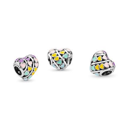 Multi-Color Hearts Charm, Mixed Enamel, Sterling silver, Enamel, Blue - PANDORA - #797019ENMX