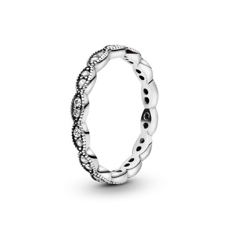 072a3f4d9fefb Sparkling Leaves Stackable Ring, Clear CZ Sterling silver, Cubic ...
