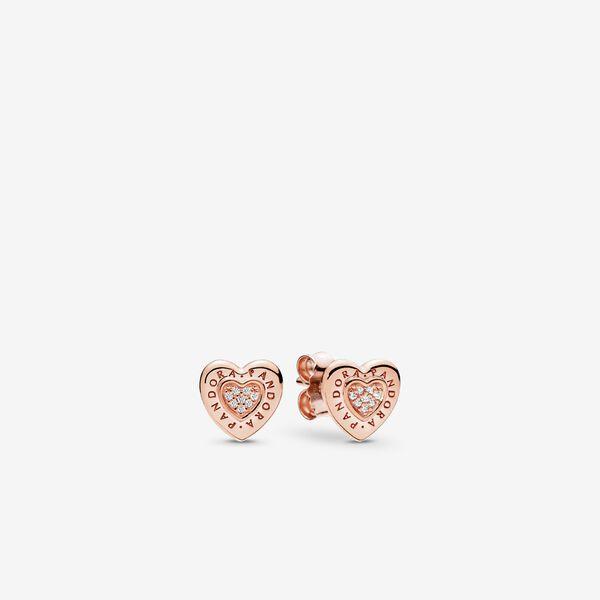 PANDORA Signature Heart Stud Earrings, PANDORA Rose™ & Clear CZ   Rose Gold   Pandora US