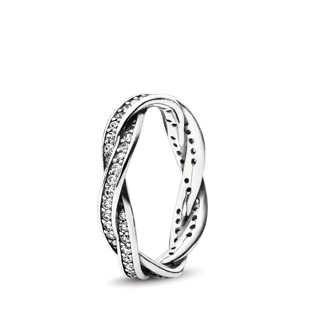 Twist Of Fate Stackable Ring with Clear CZ