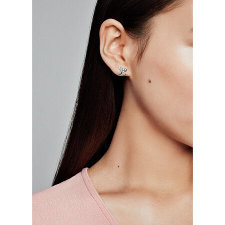 Four-Petal Flower Stud Earrings, Sterling silver, Cubic Zirconia - PANDORA - #297968CZ