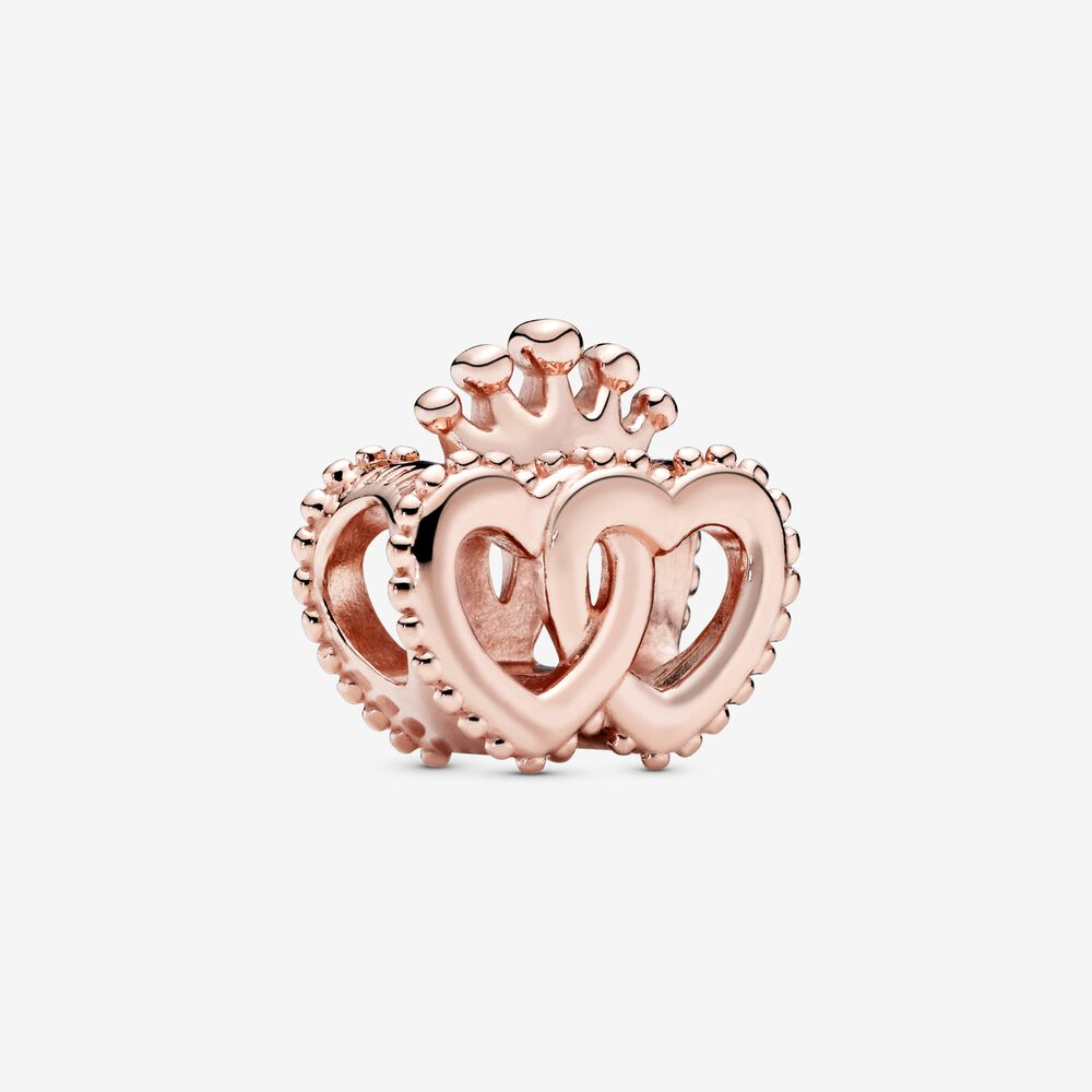 Crown and Entwined Hearts Charm   Rose gold plated   Pandora US