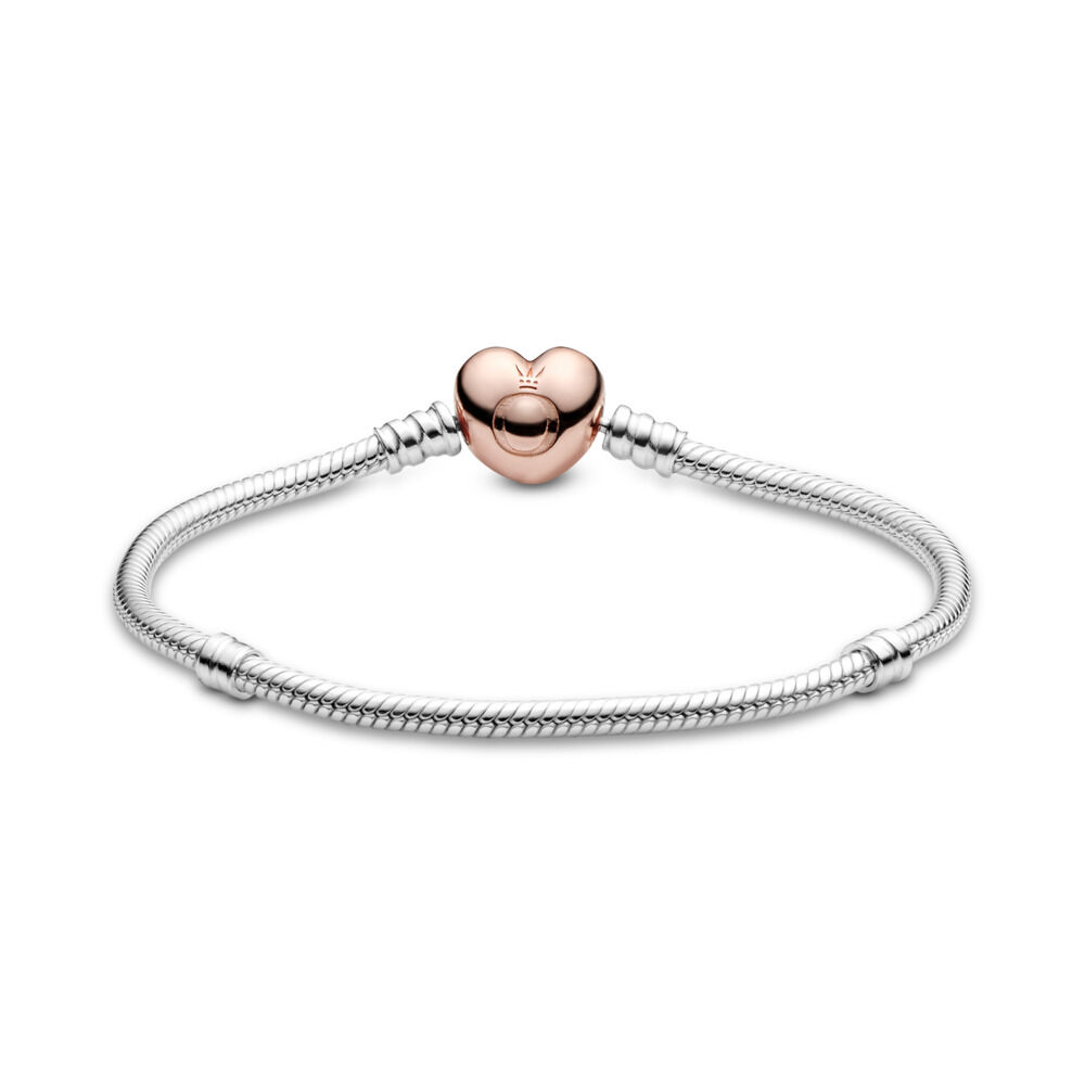 dd4579aff Moments Heart & Snake Chain Bracelet, PANDORA Rose with sterling silver -  PANDORA - #