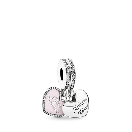 Best Friends Dangle Charm, Soft Pink Enamel & Clear CZ